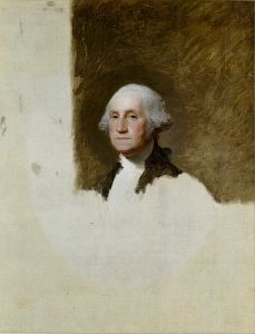 The Athenaeum portrait of Washington, wearing his uncomfortable false teeth