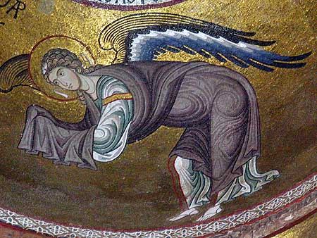 Angel from a mosaic in La Matorana, a Byzantine church in Palermo