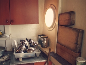 The galley of a Bosphorus ferry: I love the chopping boards!